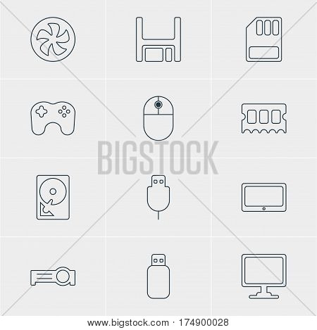 Vector Illustration Of 12 Laptop Icons. Editable Pack Of Gamepad, Presentation, Cooler And Other Elements.