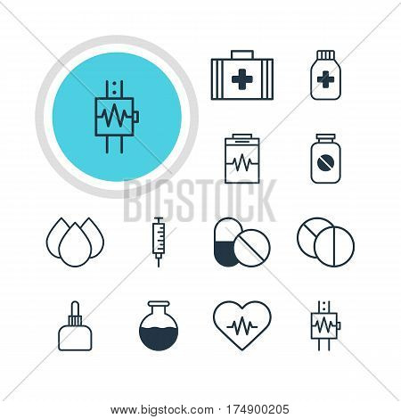 Vector Illustration Of 12 Health Icons. Editable Pack Of Round Tablet, Trickle, Treatment And Other Elements.