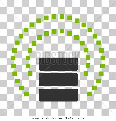 Database Sphere Shield icon. Vector illustration style is flat iconic bicolor symbol eco green and gray colors transparent background. Designed for web and software interfaces.