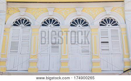 Vintage window or Sino-Portuguese style in Phuket Thailand.