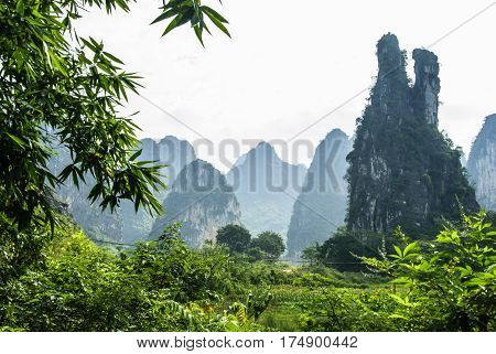 The karst mountains and rural scenery in summer