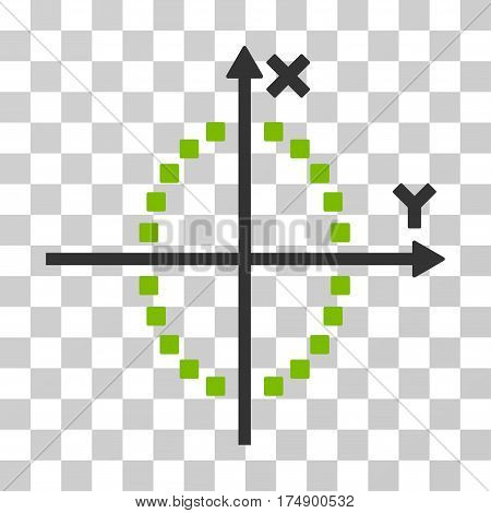 Ellipse Plot icon. Vector illustration style is flat iconic bicolor symbol eco green and gray colors transparent background. Designed for web and software interfaces.