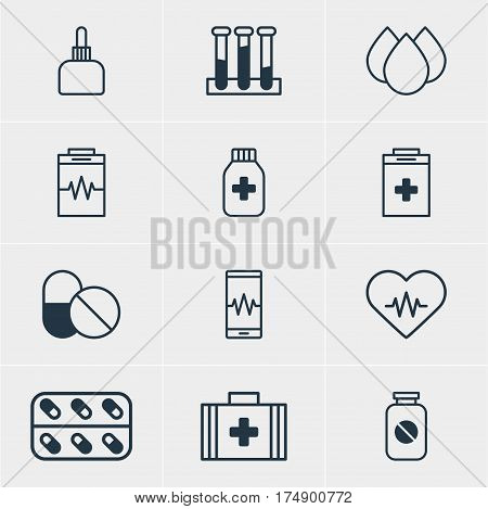 Vector Illustration Of 12 Medical Icons. Editable Pack Of Aspirin, Trickle, Medicament Pitcher And Other Elements.