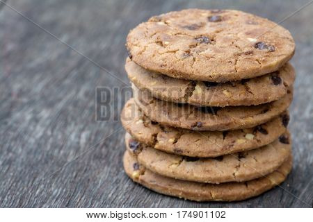 Chocolate Butter Peanut Cookies Stack on Wood Floor