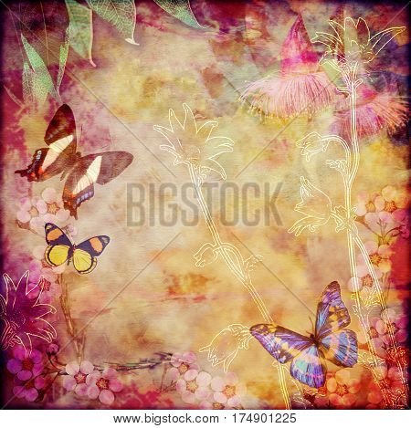 Vintage floral background with Australian butterflies. Photo montage on colorful aged canvas textured background. Copy space for text.