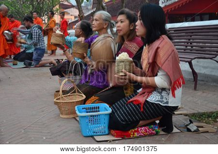 Tradition of almsgiving with sticky rice by Monks procession walk on the road for people put food offerings at Wat xieng thong on April 9 2016 in Luang Prabang Laos