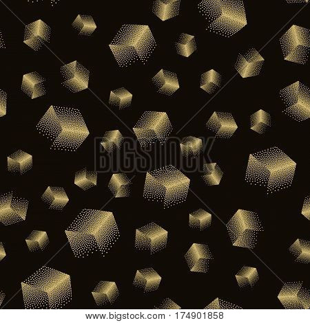 Vector seamless abstract pattern with dotted cubes on a black background. Useful for wrapping web backgrounds and wallpapers