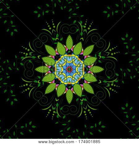 Seamless green leaves on black background with mandalas. Raster illustration texture.