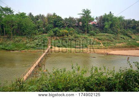 Bamboo Bridge For People Walk Crossing Mekong River