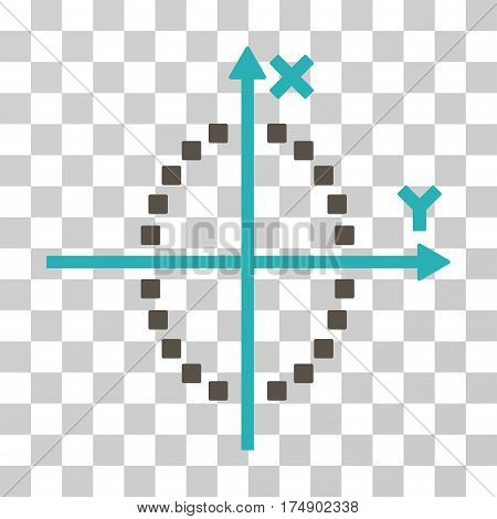 Ellipse Plot icon. Vector illustration style is flat iconic bicolor symbol grey and cyan colors transparent background. Designed for web and software interfaces.