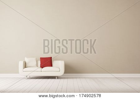 White sofa with two pillows in empty room in front of empty wall (3D Rendering)