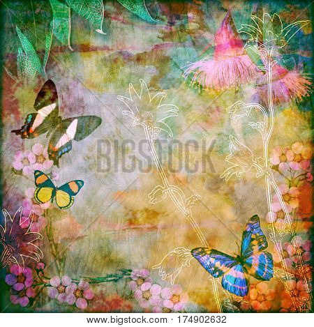 Vintage floral background with Australian butterflies. Photo montage on colorful aged wood textured background. Copy space for text.