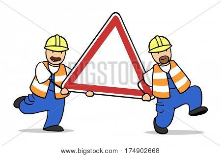 Two cartoon construction workers with precaution sign