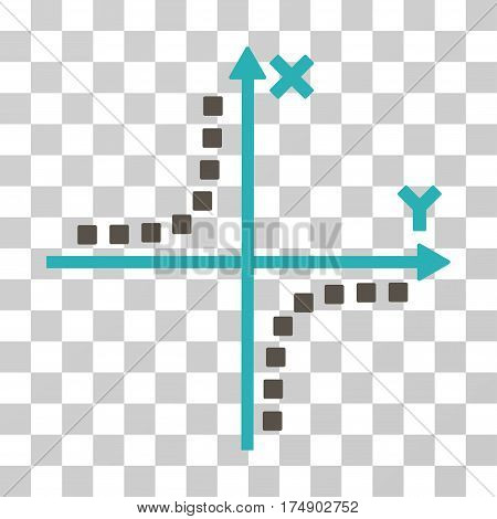 Hyperbola Plot icon. Vector illustration style is flat iconic bicolor symbol grey and cyan colors transparent background. Designed for web and software interfaces.