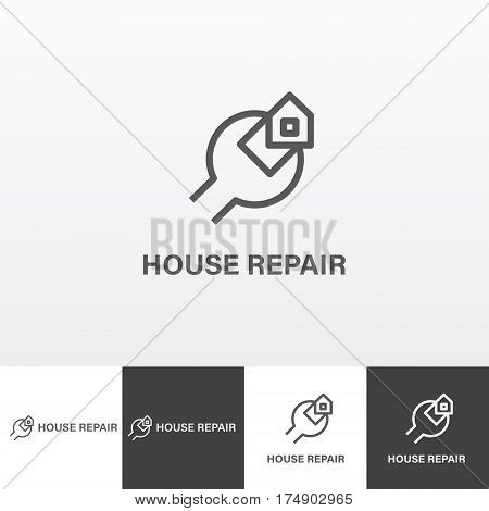 Vector logotype for house repair and maintenance eps file horisontal and vertical view