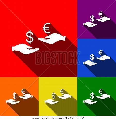 Currency exchange from hand to hand. Dollar adn Euro. Vector. Set of icons with flat shadows at red, orange, yellow, green, blue and violet background.