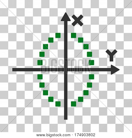 Ellipse Plot icon. Vector illustration style is flat iconic bicolor symbol green and gray colors transparent background. Designed for web and software interfaces.