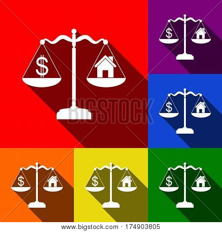 House and dollar symbol on scales. Vector. Set of icons with flat shadows at red, orange, yellow, green, blue and violet background.
