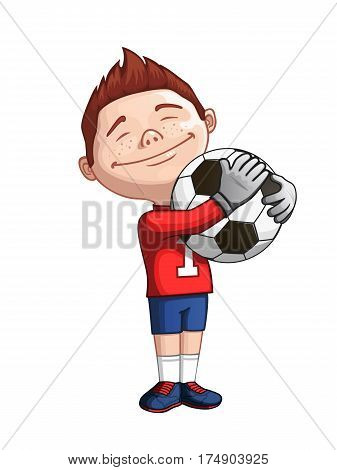 Happy young goalkeeper holding the ball. Vector illustration . Soccer goalkeeper. Goalkeeper teenager. Goalkeeper cartoon image.