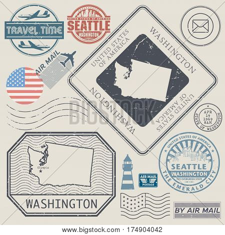 Retro vintage postage stamps set Washington United States theme vector illustration