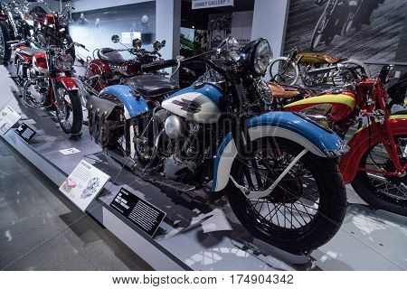 Los Angeles CA USA -- March 4 2017: Blue 1939 Harley-Davidson Model El Knucklehead from the collection of David Hansen at the Petersen Automotive Museum in Los Angeles California United States. Editorial only.