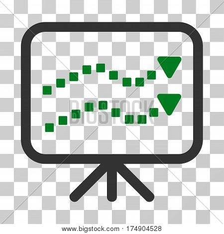 Trends Presentation icon. Vector illustration style is flat iconic bicolor symbol green and gray colors transparent background. Designed for web and software interfaces.