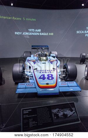 Los Angeles CA USA -- March 4 2017: Blue 1975 AAR Indy Jorgensen Eagle number 48 at the Petersen Automotive Museum in Los Angeles California United States. Editorial only.