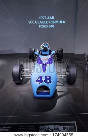 Los Angeles CA USA -- March 4 2017: Blue 1977 AAR SCCA Eagle Formula Ford number 48 at the Petersen Automotive Museum in Los Angeles California United States. Editorial only.