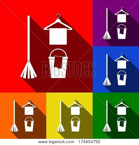 Broom, bucket and hanger sign. Vector. Set of icons with flat shadows at red, orange, yellow, green, blue and violet background.