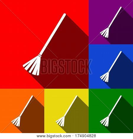 Sweeping broom sign. Vector. Set of icons with flat shadows at red, orange, yellow, green, blue and violet background.