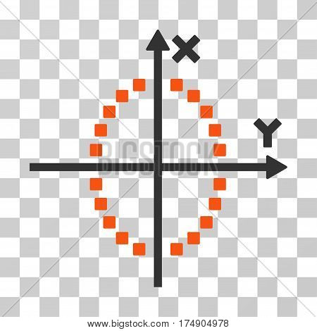 Ellipse Plot icon. Vector illustration style is flat iconic bicolor symbol orange and gray colors transparent background. Designed for web and software interfaces.