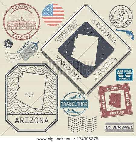 Retro vintage postage stamps set Arizona United States theme vector illustration