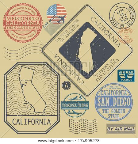 Retro vintage postage stamps set California United States theme vector illustration