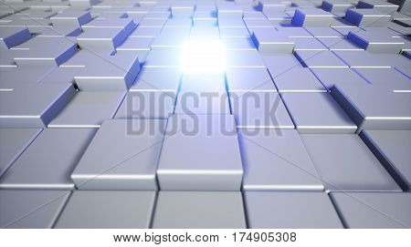 Abstract Cubes. Background With The Glowing Cube. 3D Cubic Background. 3D Rendering