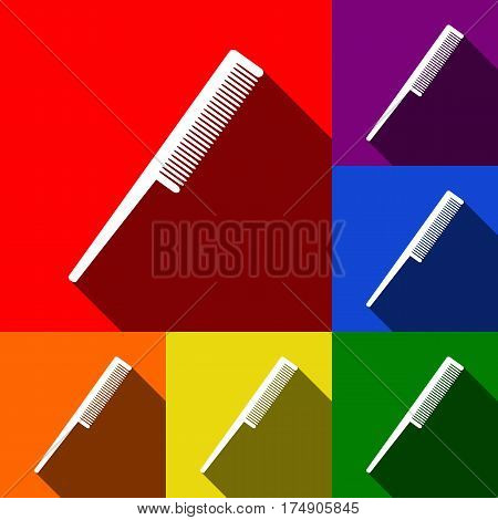 Comb sign. Vector. Set of icons with flat shadows at red, orange, yellow, green, blue and violet background.