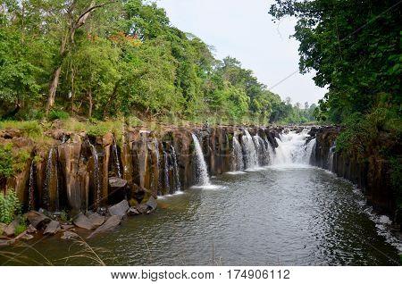 Tad Pha Suam Waterfall In Pakse, Champasak, Laos