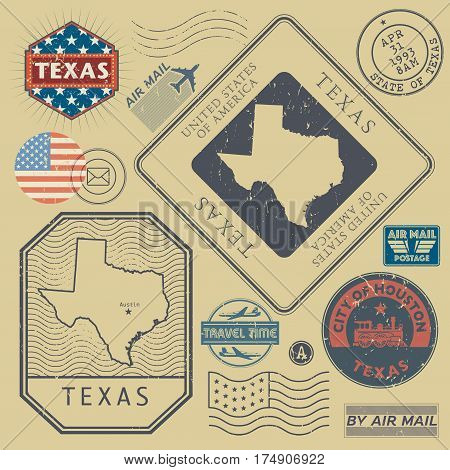 Retro vintage postage stamps set Texas United States theme vector illustration