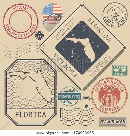 Retro vintage postage stamps set Florida United States theme vector illustration