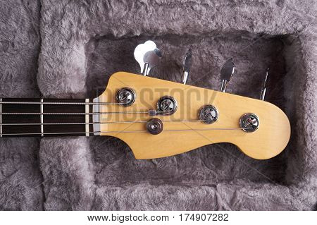 Headstock of the electric Bass guitar in fur hard case.