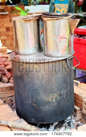 Stainless Steel Pot For Making Coffee And Tea Lao Style On Old Stove