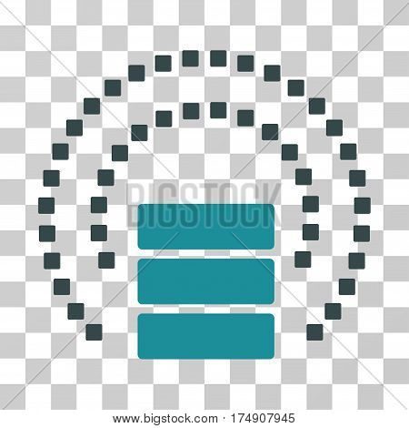 Database Sphere Shield icon. Vector illustration style is flat iconic bicolor symbol soft blue colors transparent background. Designed for web and software interfaces.