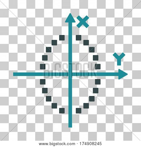 Ellipse Plot icon. Vector illustration style is flat iconic bicolor symbol soft blue colors transparent background. Designed for web and software interfaces.