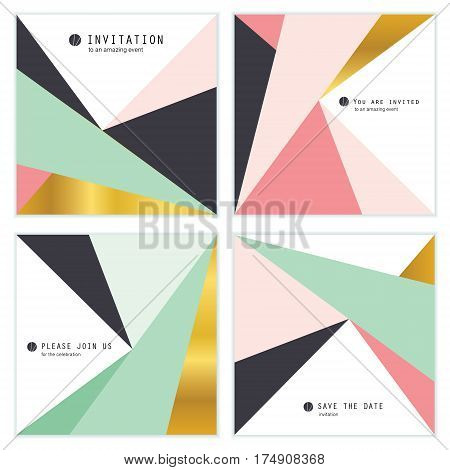 Set of 4 Creative Universal Invitation cards. Geometric Triangles Textures. Great for Wedding, Anniversary, Birthday, Party Invitations. Abstract modern design.