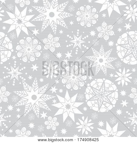 Vector Silver Grey and White Abstract Doodle Stars Seamless Pattern Background. Great for elegant texture fabric, cards, wedding invitations, wallpaper. Surface pattern design.