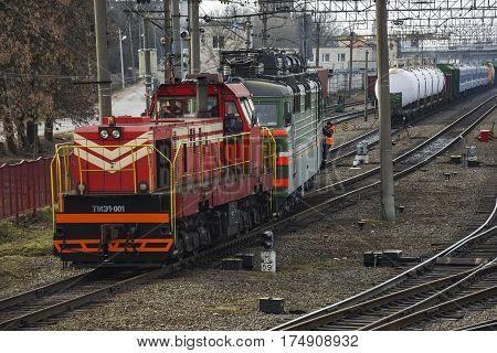 Belarus, Minsk - 03/04/2017: Shunting diesel locomotive pulls the train at the railway yard
