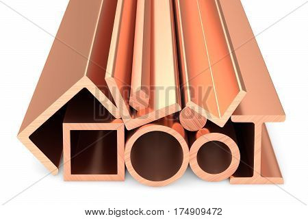 Shiny Rolled Copper Metal Products On White Background