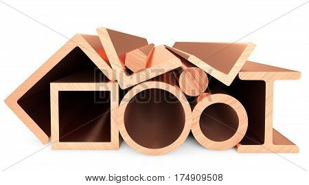 Copper Metal Products On White