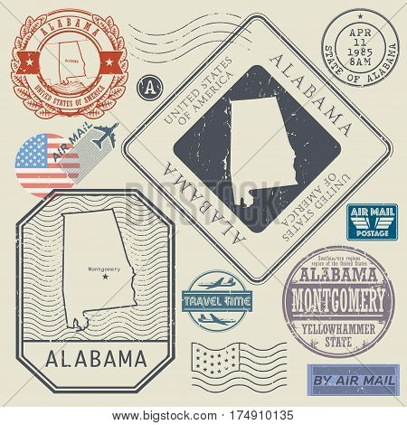 Retro vintage postage stamps set Alabama United States theme vector illustration