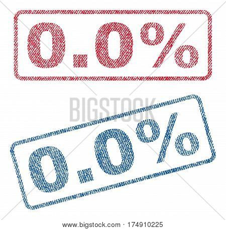 0.0 Percent text textile seal stamp watermarks. Blue red fabric vectorized texture. Vector tag inside rounded rectangular shape. Rubber sticker with fiber textile structure.