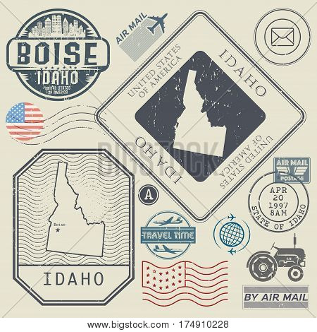 Retro vintage postage stamps set Idaho United States theme vector illustration